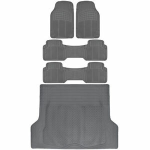 5pc Combo Set Of Van Suv Floor Mats All Weather Rubber Mat 3 Row W Trunk Gray