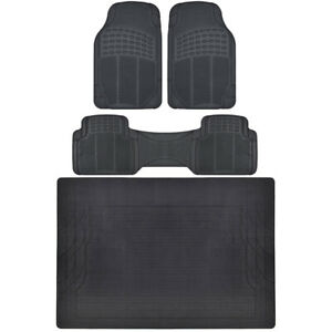 Bdk All Weather Floor Rubber Mats W Cargo Trunk Black For Car Suv Truck