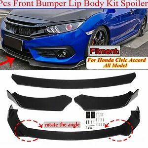 Glossy Black Front Bumper Lip Spoiler Splitters Body Kit For Honda Civic Accord