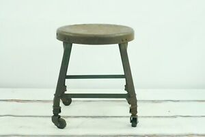 Vintage Circa 1930 S Low Rolling Stool Industrial Metal Steampunk Lyons Factor
