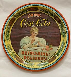 Coca Cola 75th Anniversary round trays, lot of 2, numbered 134201