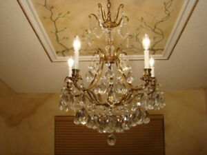 Amazing Old 50s Brass Bronze Crystal French Empire Chandelier