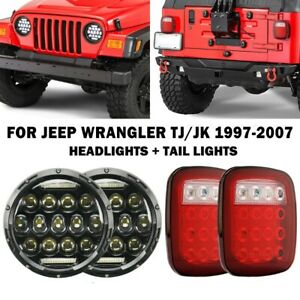 For 97 06 Jeep Wrangler Tj 4pcs Led Headlights High Low Drl Beam tail Lights Kit