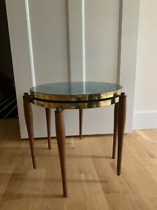 Vintage Mid Century 2 Stacking Wood Formica Nesting Tables Modern Marble Pattern