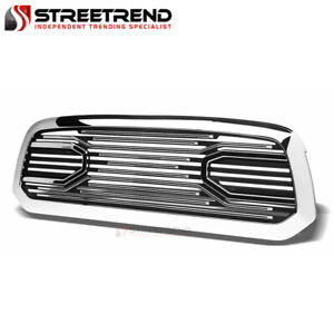 For 2013 2019 Dodge Ram 1500 Chrome Big Horn Front Hood Bumper Grille Shell Abs