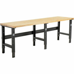 Adjustable Height Workbench C channel Leg 96 w X 30 d 1 3 4 Birch Top Square