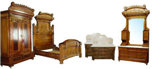 6324 Fantastic Antique 5 Piece Aesthetic Movement Bedroom Suite C 1880