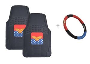Wonder Woman Car Floor Mats And Steering Wheel Cover Gift Set Universal Fit