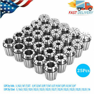 High Accurate Er32 Spring Steel Collet Set 12pcs By 16th 13pcs By 32nd 25pcs