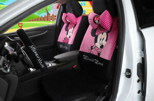New Pink And Black Cartoon Cute Minnie Mickey Universal Car Seat Covers 1 Set