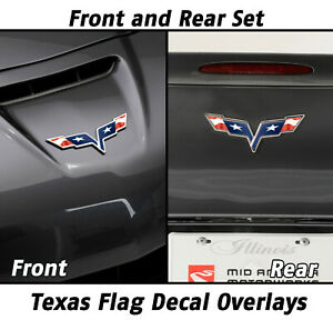 2005 2013 Corvette Texas Flag Overlay For Front And Rear Emblems Pair 642601