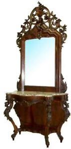 6225 Large Antique Victorian Mahogany Marble Top Pier Table Mirror