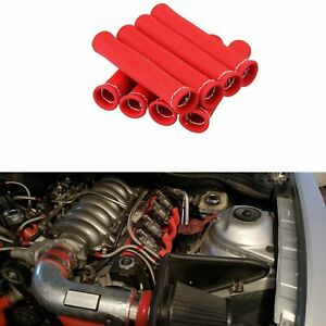 8 Pcs 2500 Spark Plug Wire Boots Heat Shield Protector Sleeve Sbc Bbc 350 Red