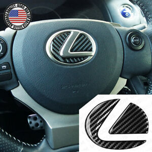 For Lexus Car Interior Carbon Fiber Steering Wheel Logo Badge Emblem Decoration