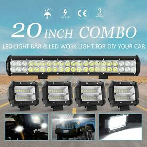 New Set 20inch 280w Led Work Light Bar 4 Combo Offroad Driving 4wd Truck 22