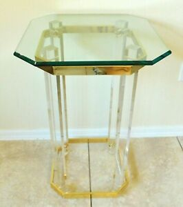 Antique Vtg High End Lucite Brass Beveled Glass Top Side End Accent Table