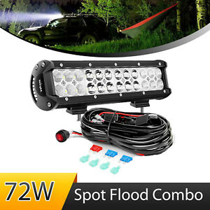 Nilight Led Light Bar 12 Inch 72w Spot Flood Combo With Off Road Wiring Harness
