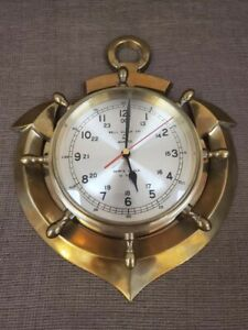 Vintage Bell Clock Co Quartz Brass Anchor Ship S Clock