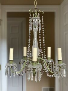 Antique Gustavian Iron Crystal Beaded Chandelier Amethyst Green Old Paris French