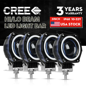 4pc 3 Cree Led Work Light Cube Pods Driving 120w Flood Offroad Bumper Suv Atv