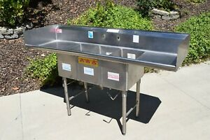 American Delphi 3 Compartment Stainless Sink Restaurant Commercial 2 Drainboards