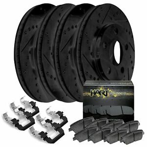 Fit 2005 2006 Hyundai Tiburon Black Hart Full Kit Brake Rotors Ceramic Pads