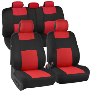 Polypro Car Seat Covers Full Set Red Black Universal Fit Front Rear