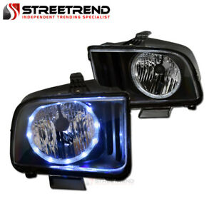 For 2005 2009 Ford Mustang Black Housing Led Halo Headlights Headlamps Pair