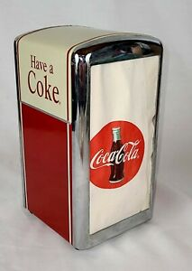 Vintage 1992 Coca Cola Napkin Dispenser Holder w/ Napkins Metal Coke Collectible
