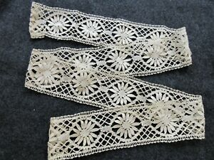 French Bobbin Lace Trim Insertion 2 3 4 X 53 Antique Doll Clothing