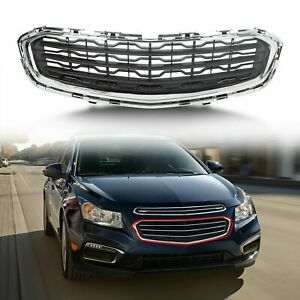 For 2015 Chevrolet Chevy Cruze Black Front Center Grille Assembly Chrome Molding