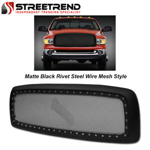For 2002 2005 Dodge Ram Matte Blk Rivet Steel Wire Mesh Front Hood Bumper Grille