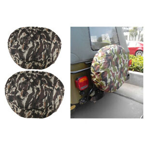 Set Of 2 13 15 Car Truck Van Rear Spare Tire Tyre Cover Wheel Cover