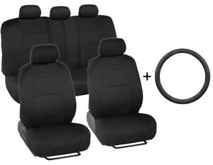 Car Seat Covers Front rear Leather Steering Wheel Cover Universal Black