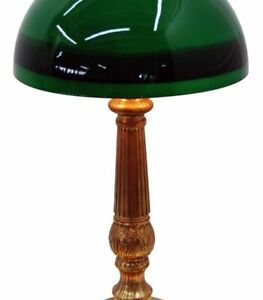 3017 Early 20th C Bronze Lamp With Emeralite Student Shade