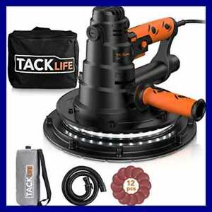 Tacklife Handheld Drywall Sander Automatic Vacuum System Led Light 12 Pcs