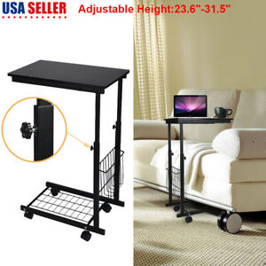 Rolling Table Over Bed sofa Laptop Computer Food Tray Hospital Home Office Desk