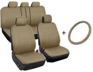 Front rear Car Seat Covers Microfiber Leather Steering Wheel Cover Tan Beige