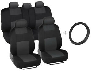 Polypro Car Seat Covers full Set Leather Steering Wheel Cover Universal Fit