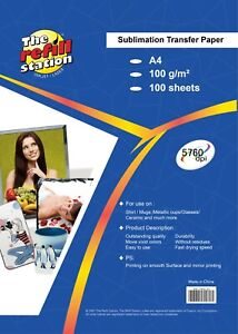 100pk Sublimation Heat Transfer Paper Premium 95 Transfer Rate