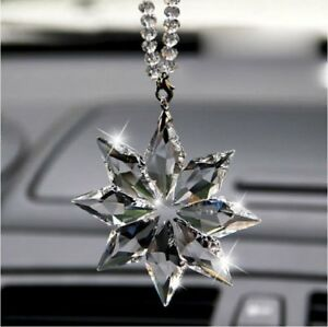 Crystal Snowflake Car Rear View Mirror Ornament Auto Hanging Ornament New