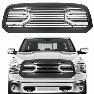 Front Big Horn Black Grille Shell With Light For 2013 2018 Dodge Ram 1500