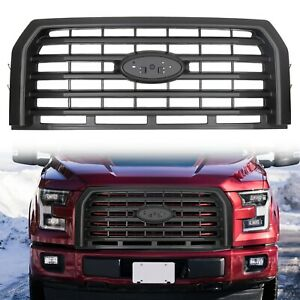 For 2015 2017 Ford F150 Black Horizontal Front Bumper Grill Grille Abs