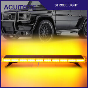 Amber 47 Inch 88 Led Emergency Warn Flash Beacon Truck Strobe Light Bar Tow Roof