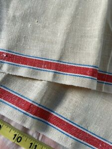 Vintage French Linen Fabric Off White Red Blue Stripes Slub Feed Sack Beautiful