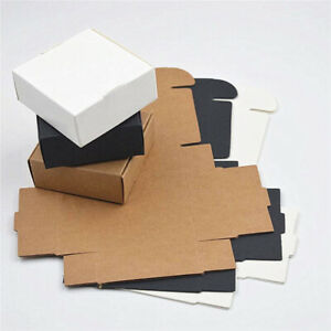 10pcs Gift Cardboard Small Bottom Handmade Box Pack Wrapping Kraft Paper Square