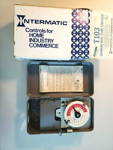 L k Intermatic T103 40 Amp 120 volt Dpst 24 hour Mechanical Time Switch