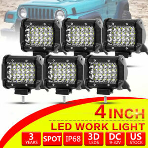 6pcs 4 Inch Cree Led Work Light Bar Spot Pods Off Road Truck Reverse Fog Lights