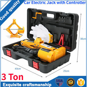 12v 3 Ton 6600lb Electric Scissor Car Lifting 1 2 Impact Wrench Tools Kit