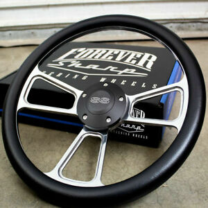 14 Billet Steering Wheel W Black Ss Horn For 1969 To 1994 Chevy Car
